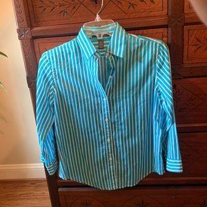 Ralph Lauren Teal Striped Button Shirt PS
